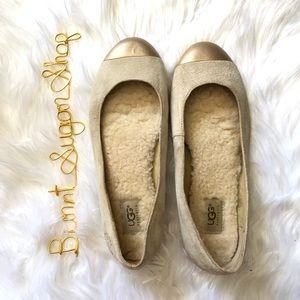 Ugg    suede cap toe flats size 10